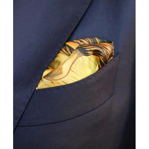Błękitno-żółta poszetka z lwem
