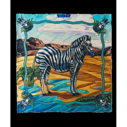 Turkusowo-brązowa poszetka z zebrą