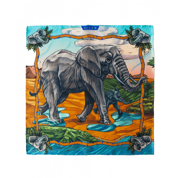 Rudo-szara poszetka ze słoniem