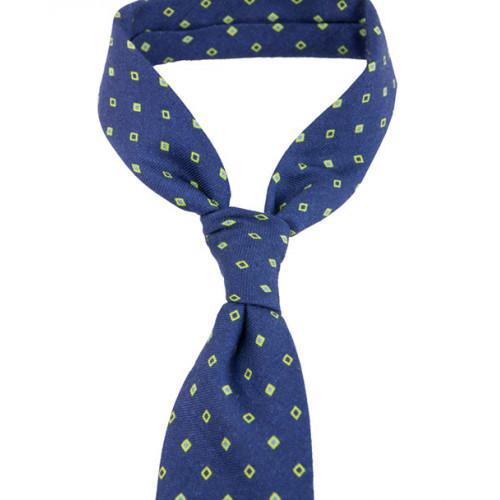 Krawat niebieski w zielone kwadraciki