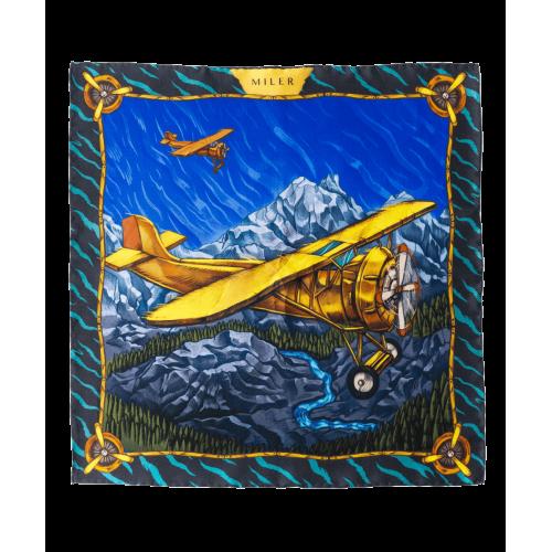 Żółto-niebieska poszetka z samolotem