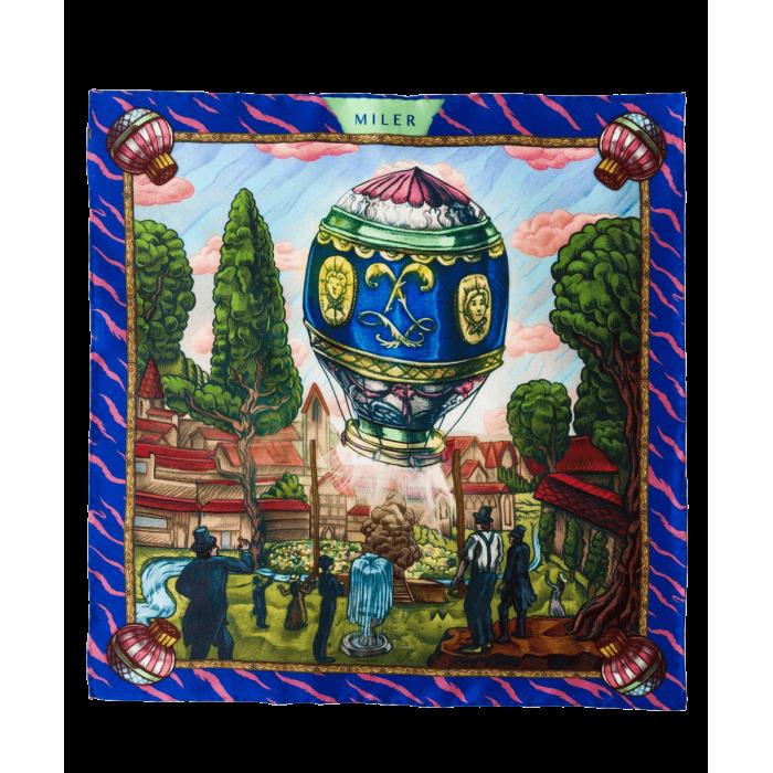 Granatowo-zielona poszetka z balonem