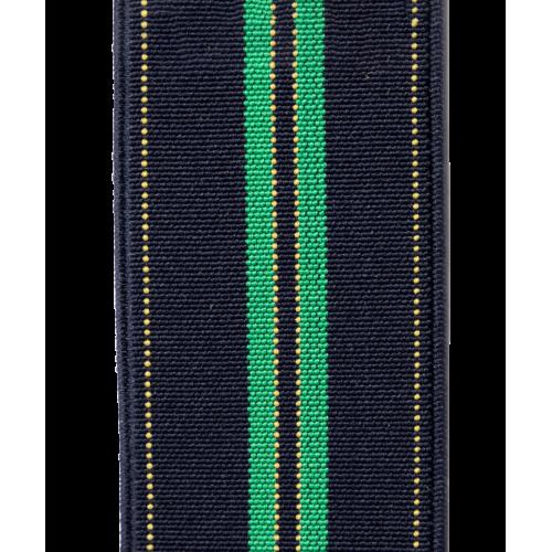 Granatowe szelki do spodni w zielone paski