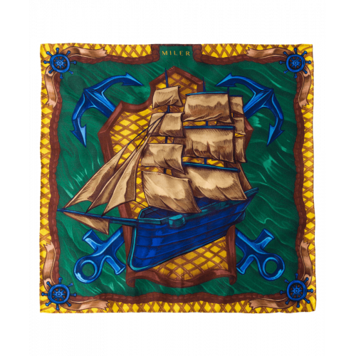 Poszetka żółto-zielona z fregatą