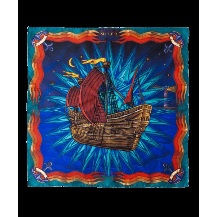 Poszetka czerwono-niebieska z galeonem
