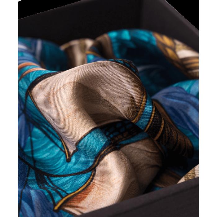 Poszetka szaro-niebieska ze szkunerem