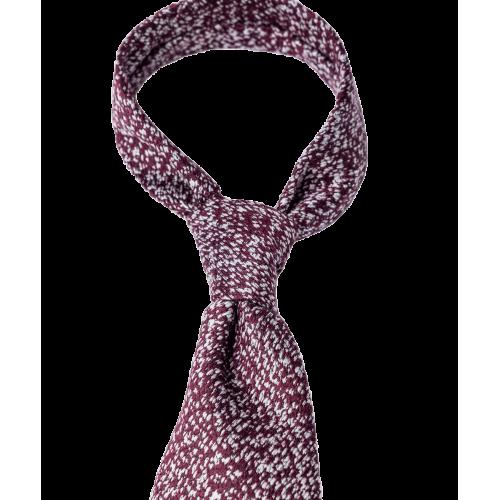 Krawat w bordowo-biały melanż