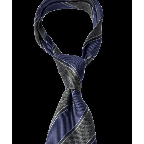 Krawat granatowo-zielony w paski