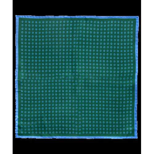 Jedwabna poszetka zielono-granatowa w grochy