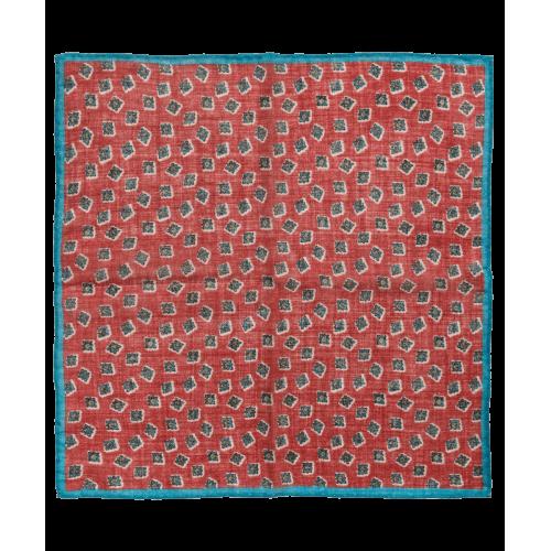 Wełniana poszetka czerwona w romby