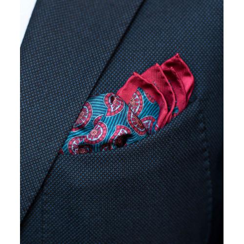 Jedwabna poszetka niebiesko-czerwona w paisley