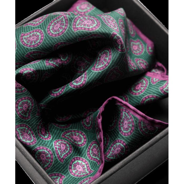 Jedwabna poszetka zielono-purpurowa w paisley