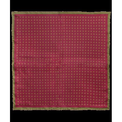 Jedwabna poszetka purpurowa w grochy