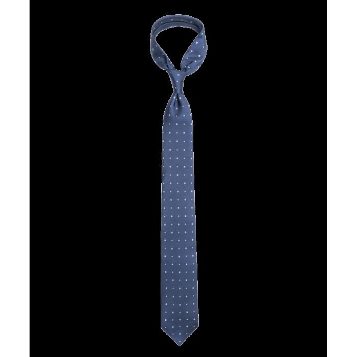 Krawat granatowy w kwadraty i kropki