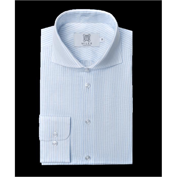 Koszula lniana w błękitny prążek candy stripe