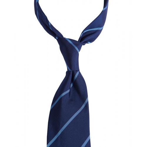 Granatowy krawat w błękitne paski