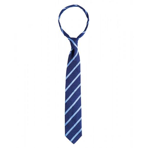 Granatowy krawat z szantungu w błękitne paski