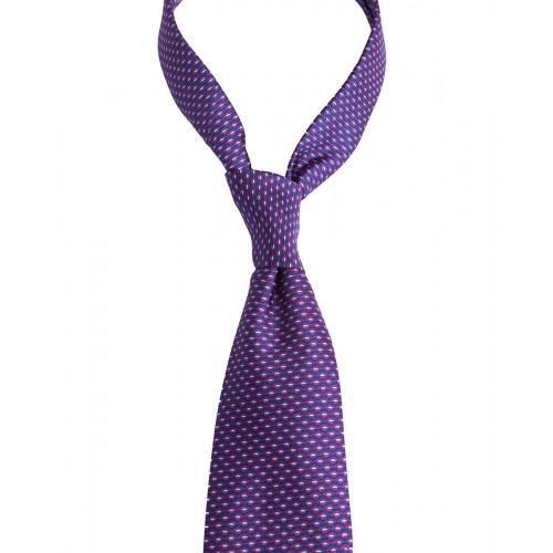 Granatowy krawat w czerwony drukowany wzór