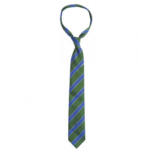 Zielony krawat w niebieskie paski