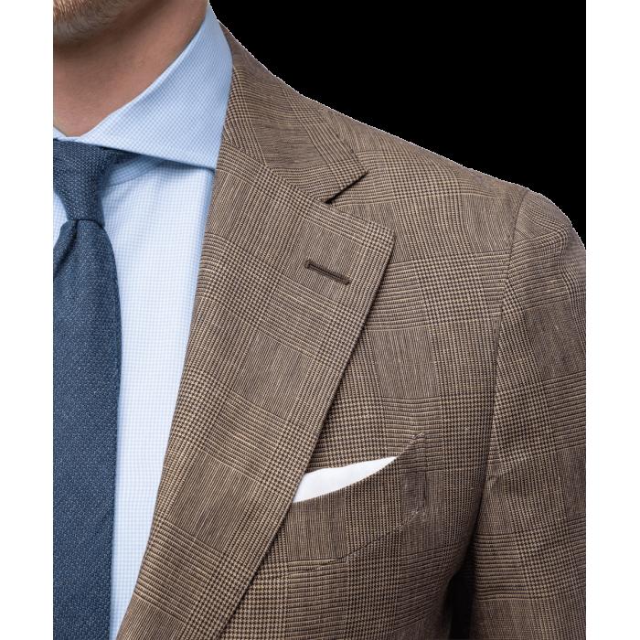 Brązowy lniany garnitur Madeira Dapper w kratkę księcia Walii