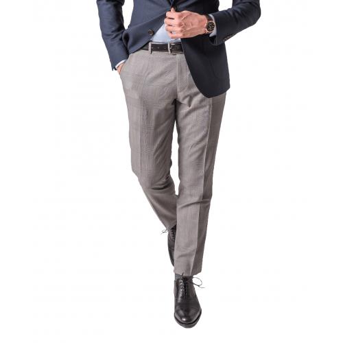 Szare wełniane spodnie męskie w kratkę księcia Walii