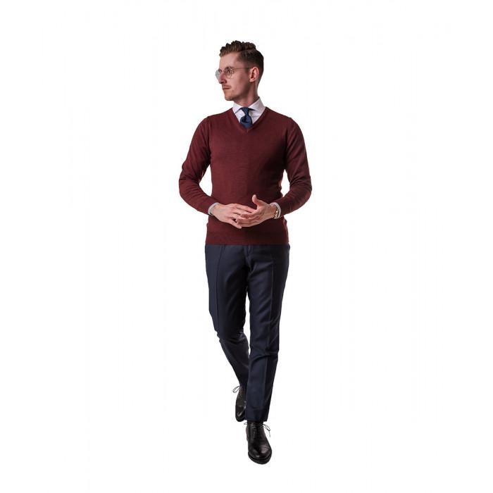 Sweter bordowy z wełny merynosowej