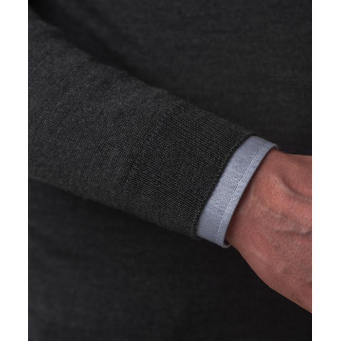 Sweter grafitowy z wełny merynosowej