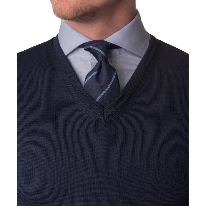 Sweter granatowy z wełny merynosowej