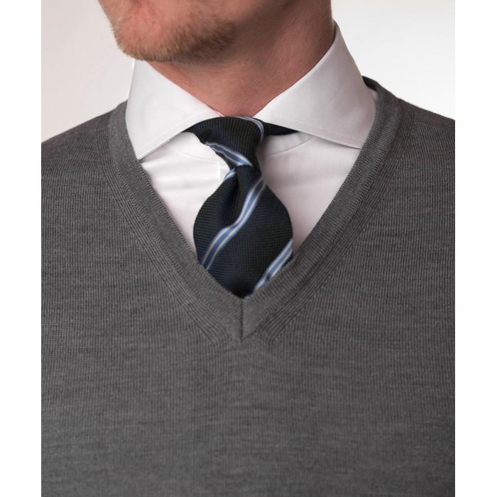 Sweter jasnoszary z wełny merynosowej