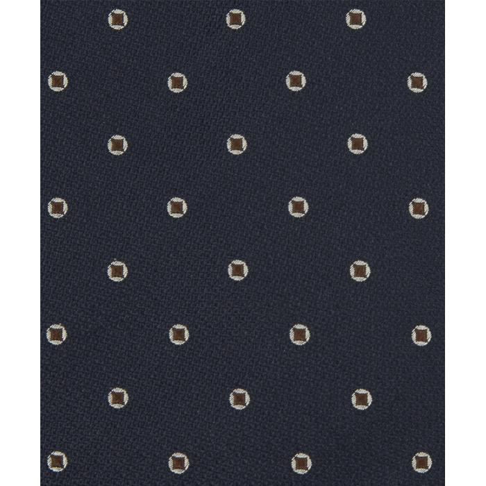 Granatowy krawat w brązowe groszki