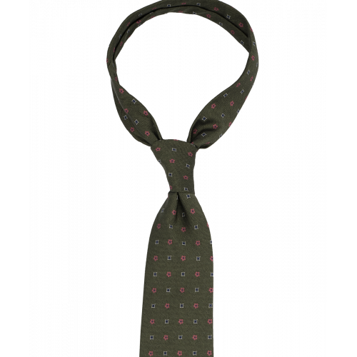 Oliwkowy krawat w drobny wzór