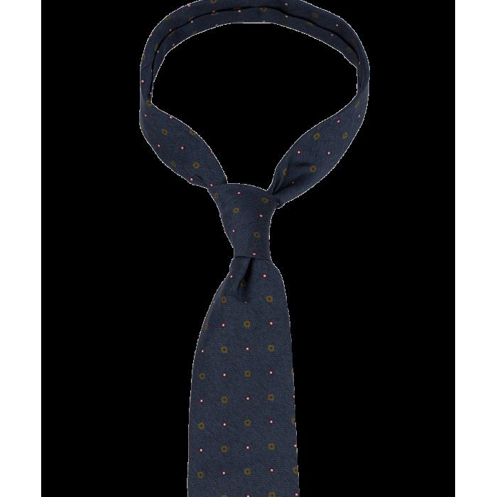 Ciemnoniebieski krawat w drobny wzór