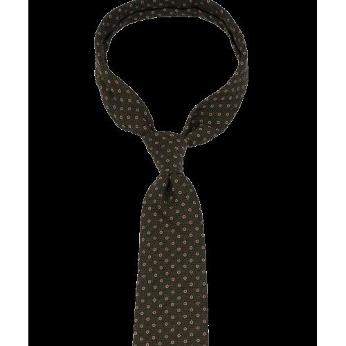 Oliwkowy krawat w grochy