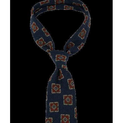 Granatowy krawat w duże ornamenty