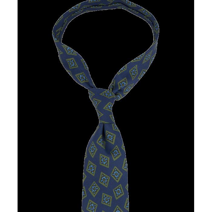 Ciemnoniebieski krawat w duże ornamenty