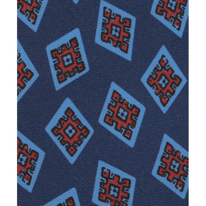 Ciemnoniebieski krawat w duże czerwone ornamenty