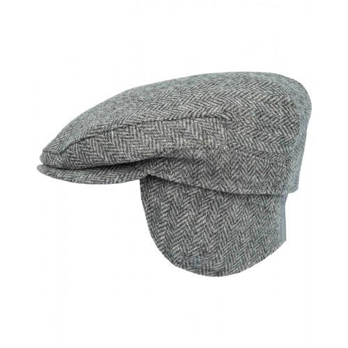 Szary kaszkiet z nausznikami Bute z tweedu