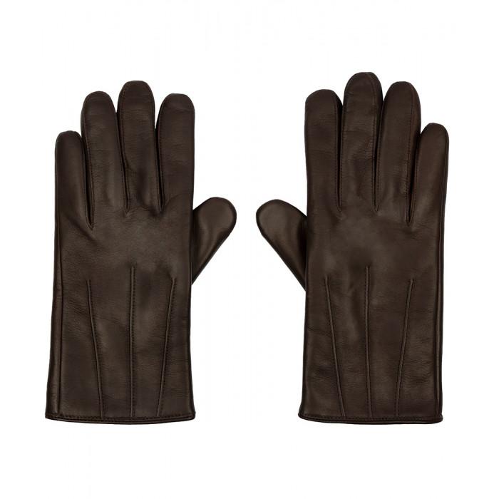 Skórzane ocieplane męskie rękawiczki ze skóry owczej - brązowe