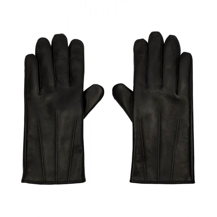 Skórzane ocieplane męskie rękawiczki ze skóry owczej - czarne