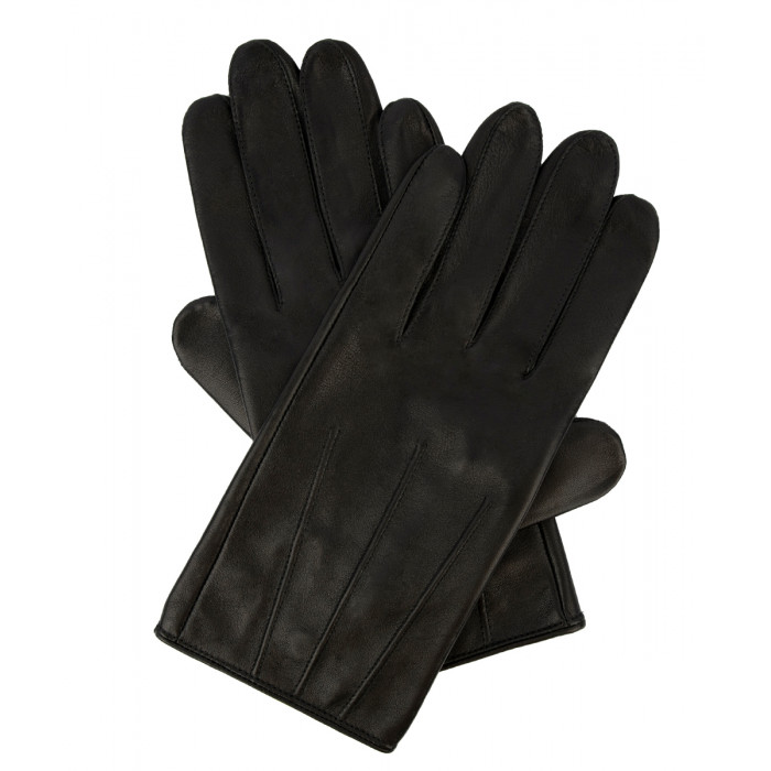 Męskie rękawiczki ze skóry owczej - czarne