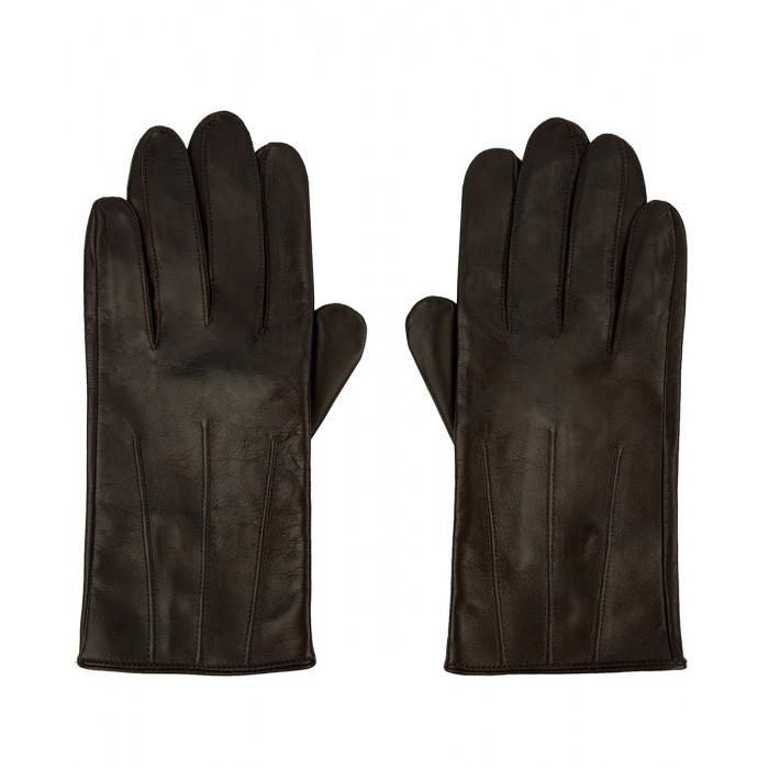 Męskie rękawiczki ze skóry owczej - brązowe
