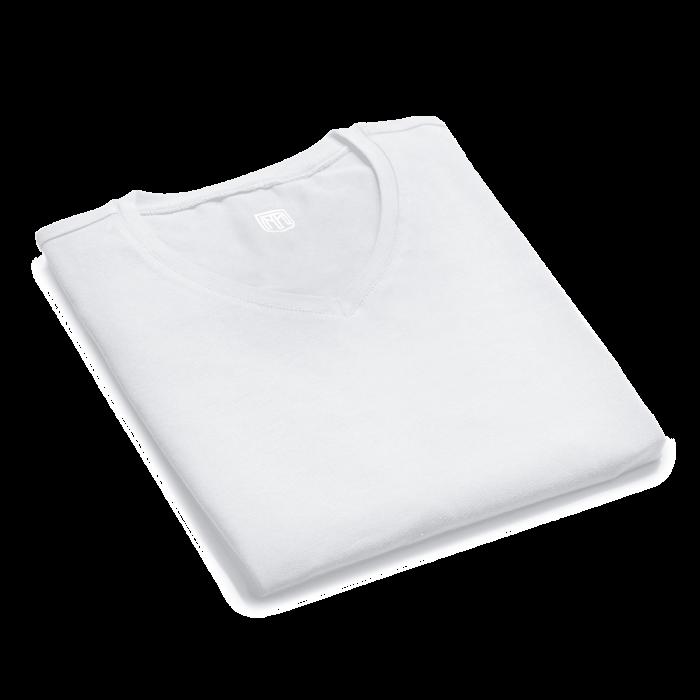 Biały t-shirt męski v-neck