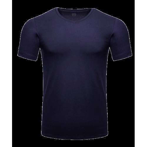 Granatowy t-shirt męski v-neck