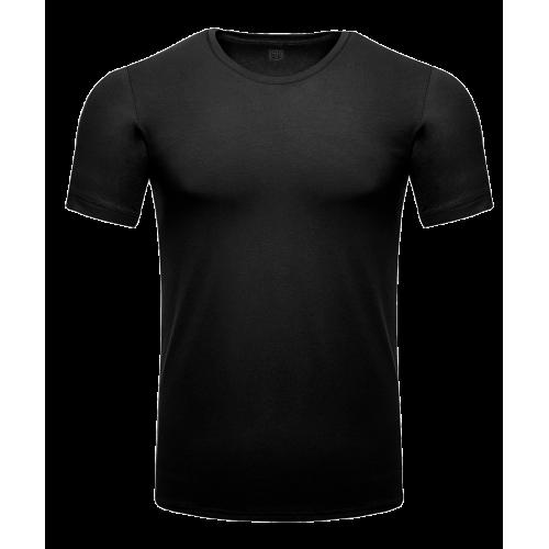 Czarny t-shirt męski u-neck