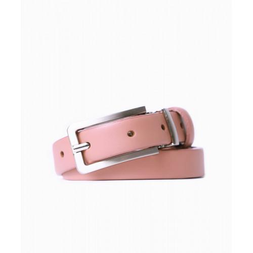 Skórzany pasek damski - różowy