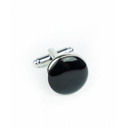 Spinki czarno-srebrne okrągłe