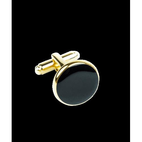Spinki czarno-złote okrągłe