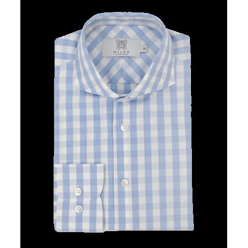 Męska koszula w niebieską kratkę vichy