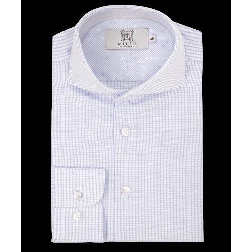 Męska biała koszula w drobną kratkę