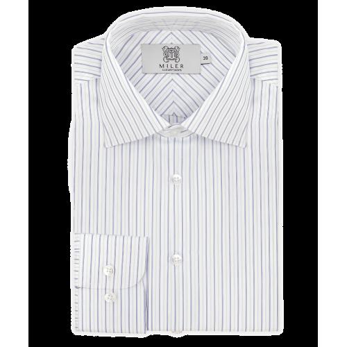 Męska biała koszula w cienkie paski